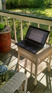 laptop on porch